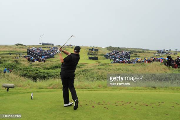 Shane Lowry of Ireland tees off the 13th during the second round of the 148th Open Championship held on the Dunluce Links at Royal Portrush Golf Club...
