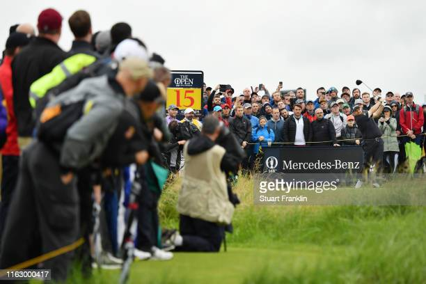 Shane Lowry of Ireland tees off the 15th during the second round of the 148th Open Championship held on the Dunluce Links at Royal Portrush Golf Club...