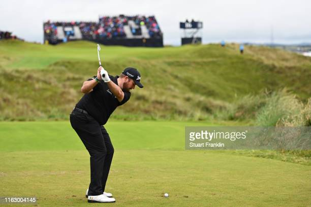 Shane Lowry of Ireland tees off the 16th during the second round of the 148th Open Championship held on the Dunluce Links at Royal Portrush Golf Club...