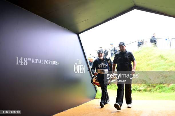 Shane Lowry of Ireland walks to the next hole during the final round of the 148th Open Championship held on the Dunluce Links at Royal Portrush Golf...