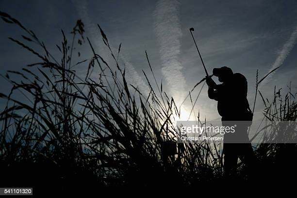 Shane Lowry of Ireland watches his tee shot on the eighth hole during the third round of the US Open at Oakmont Country Club on June 18 2016 in...