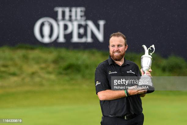 Shane Lowry of Ireland with The Claret Jug after securing victory during the final round of the 148th Open Championship held on the Dunluce Links at...