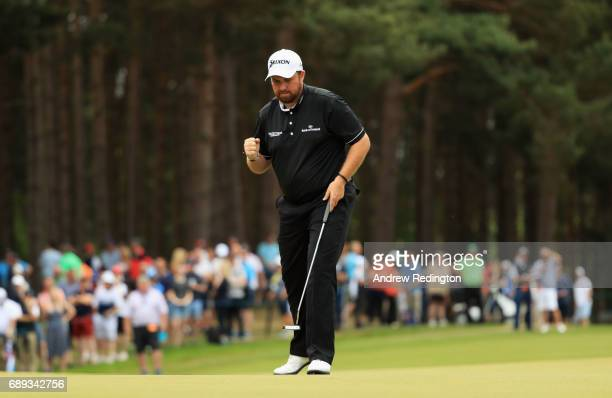 Shane Lowry of Northern Ireland reacts on the 9th green during the final round on day four of the BMW PGA Championship at Wentworth on May 28 2017 in...
