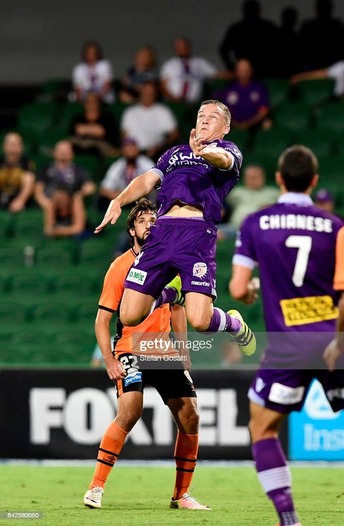 Shane Lowry of the Glory leaps to head the ball during the round 20 A-League match between Perth Glory and Brisbane Roar at nib Stadium on February 18, 2017 in Perth, Australia.