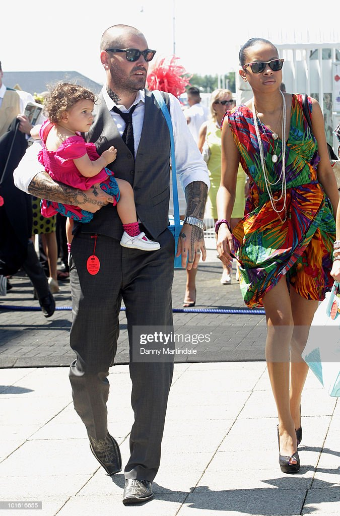 Shane Lynch from Boyzone and friend attend the Investec Ladies Day at Epsom Downs on June 4, 2010 in Epsom, England.