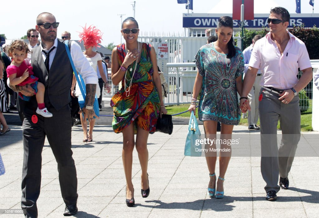 Shane Lynch from Boyzone, friend, Katie Price aka Jordan and Alex Reid attend the Investec Ladies Day at Epsom Downs on June 4, 2010 in Epsom, England.