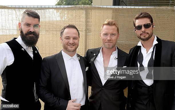 Shane Lynch Mikey Graham Ronan Keating and Keith Duffy of Boyzone pose backstage at British Summer Time Festival at Hyde Park on July 13 2014 in...