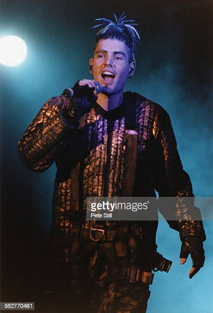 Shane Lynch of Boyzone perform on stage at the National Exhibition Centre, on November 11th, 1997 in Birmingham, England.