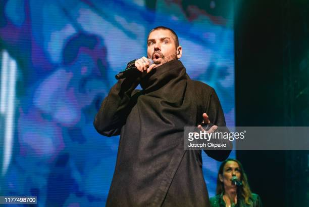 Shane Lynch of Boyzone performs on stage at London Palladium during The Final Five tour on October 21 2019 in London England