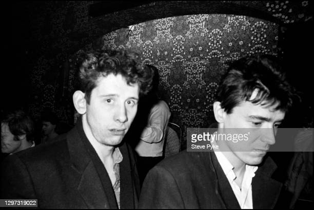Shane MacGowan and Spider Stacy, of The Pogues at the Crown pub on Cricklewood Broadway, London, 1984.