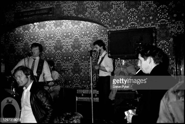 Shane MacGowan , of The Pogues watching a band play at the Crown pub on Cricklewood Broadway, London, 1984.