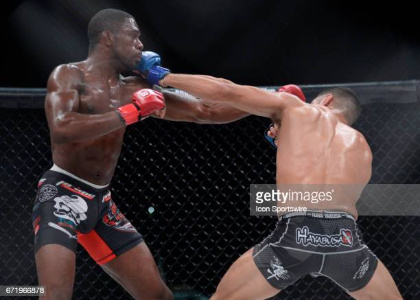 Shane Manley takes on Chris Foster in a Featherweight bout on April 21 2017 at Bellator 178 at the Mohegan Sun Arena in Uncasville Connecticut Chris...