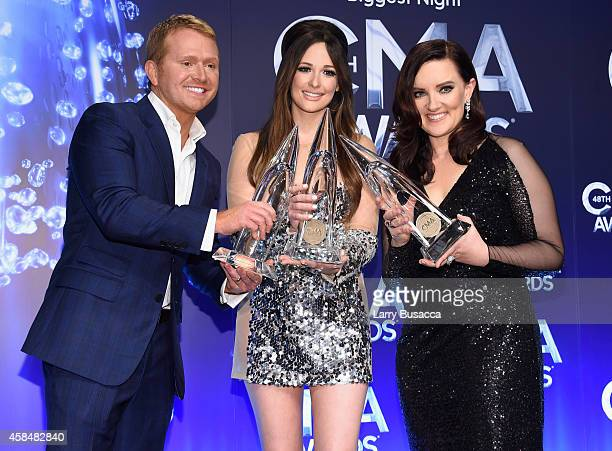 Shane McAnally Kacey Musgraves and Brandy Clark with their Song of the Year Award at the 48th annual CMA Awards at the Bridgestone Arena on November...