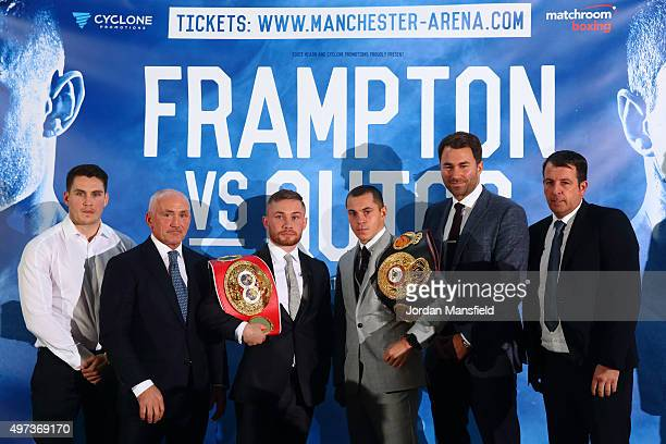 Shane McGuigan Barry McGuigan Carl Frampton Scott Quigg Eddie Hearn and Joe Gallagher pose for a photo during a press conference at the Park Plaza...
