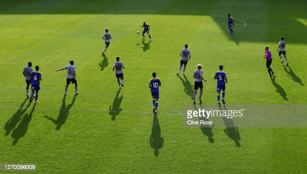 Shane McLoughlin of AFC Wimbledon controls the ball during the EFL Trophy match AFC Wimbledon and Charlton Athletic at The Kiyan Prince Foundation...