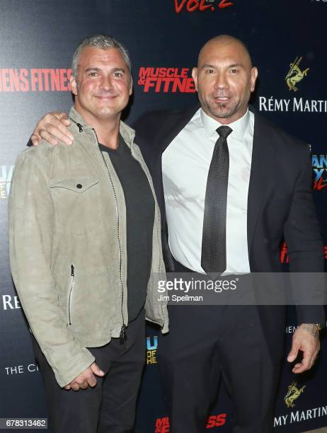 Shane McMahon and actor Dave Bautista attend the screening of Marvel Studios' Guardians Of The Galaxy Vol 2 hosted by The Cinema Society at the...