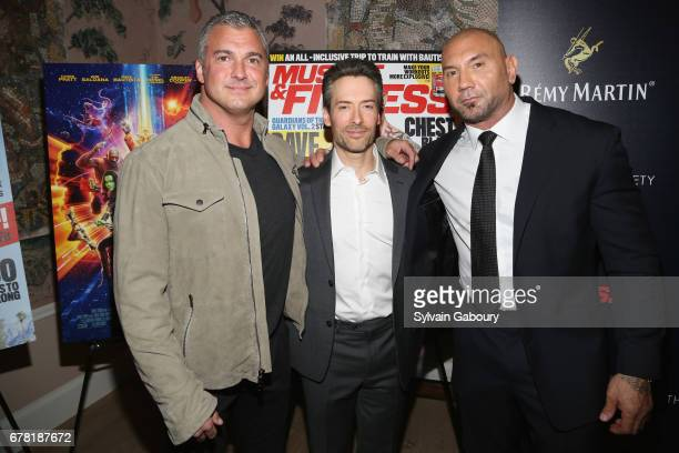 Shane McMahon Shawn Perine and Dave Bautista attend The Cinema Society with Men's Fitness Muscle Fitness and Remy Martin host a screening of Marvel...