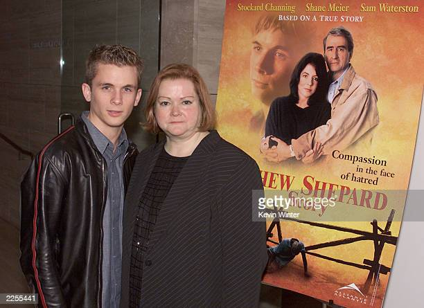 Shane Meier who plays Matthew Shepard and Judy Shepard at a screening for the NBC TV movie The Matthew Shepard Story at the Museum of Television and...