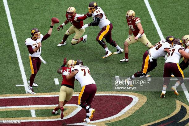 Shane Morris of the Central Michigan Chippewas makes a pass against the Boston College Eagles during the first quarter at Alumni Stadium on September...