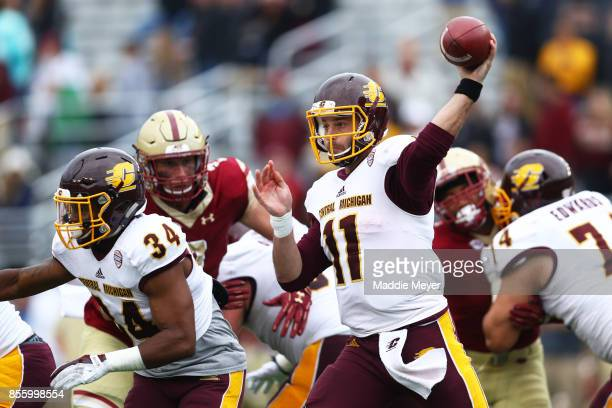 Shane Morris of the Central Michigan Chippewas makes a pass against the Boston College Eagles during the second half at Alumni Stadium on September...