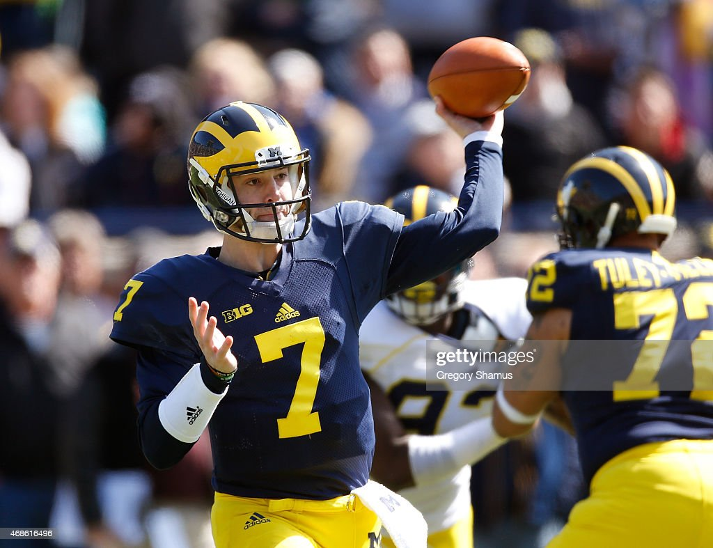 Shane Morris #7 of the Michigan Wolverines throws a pass during the Michigan Football Spring Game on April 4, 2015 at Michigan Stadium in Ann Arbor, Michigan.