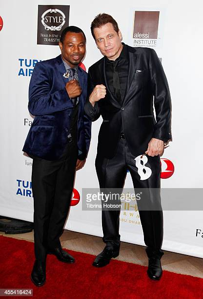 Shane Mosley and Holt McCallany attend the Face Forward gala supporting victims of domestic abuse at Millennium Biltmore Hotel on September 13 2014...