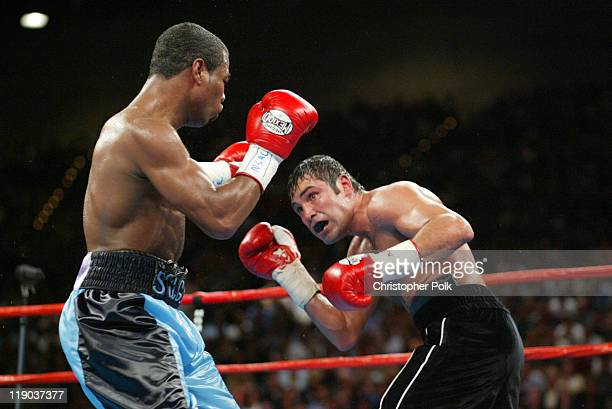 Shane Mosley blue trunks fights Oscar De La Hoya black trunks during a 12round WBC/WBA Super Welterweight Championship bout held a the MGM Grand...