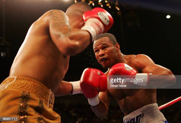 Shane Mosley in the ring against Fernando Vargas in the junior middleweight fight at the Mandalay Bay Events Center on February 25 2006 in Las Vegas...
