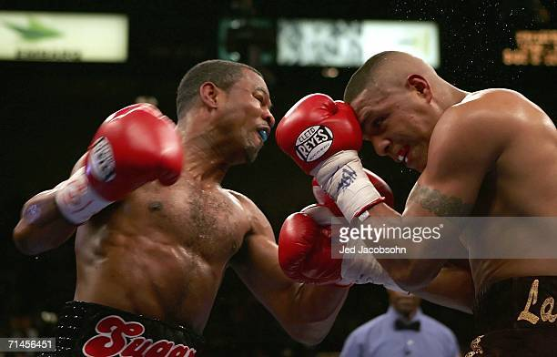 Shane Mosley throws a left at Fernando Vargas during their junior middleweight rematch fight at the MGM Grand Garden Arena July 15 2006 in Las Vegas...