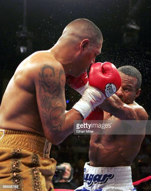 Shane Mosley throws a left at Fernando Vargas in the junior middleweight fight at the Mandalay Bay Events Center on February 25 2006 in Las Vegas...