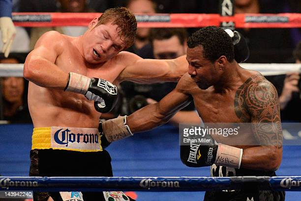 Shane Mosley throws a right at Canelo Alvarez during their WBC super welterweight title fight at the MGM Grand Garden Arena on May 5 2012 in Las...