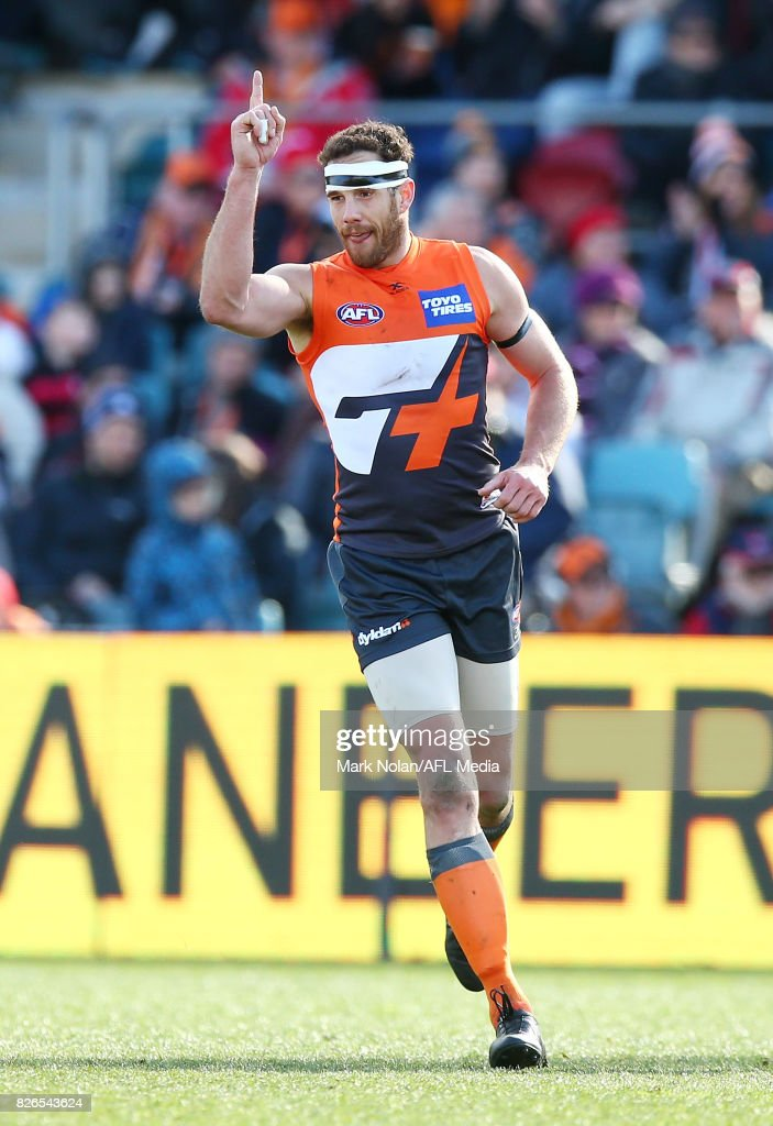 Shane Mumford of the Giants celebrates a goal during the round 20 AFL match between the Greater Western Sydney Giants and the Melbourne Demons at UNSW Canberra Oval on August 5, 2017 in Canberra, Australia.