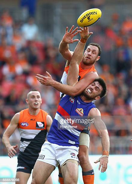 Shane Mumford of the Giants competes for the ball against Tom Campbell of the Bulldogs during the round nine AFL match between the Greater Western...