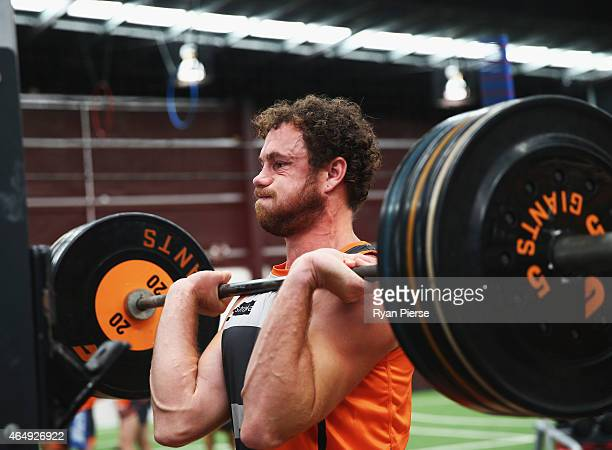 Shane Mumford of the Giants trains during a Greater Western Sydney Giants AFL training session at the Giants Training Centre on March 2 2015 in...