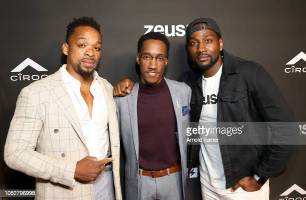 Shane Norman Lemuel Plummer and DeStorm Power attend the ZEUS New Series Premiere Party X CIROC Black Raspberry on October 19 2018 in Burbank...