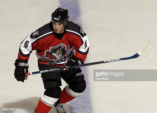 Shane O'Brien of the Portland Pirates skates against the Bridgeport Sound Tigers at the Arena at Harbor Yard on October 22 2005 in Bridgeport...