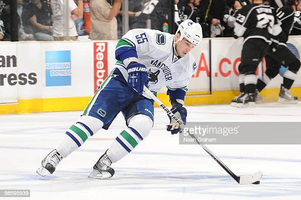 Shane O'Brien of the Vancouver Canucks skates with the puck against the Los Angeles Kings in Game Three of the Western Conference Quarterfinals...