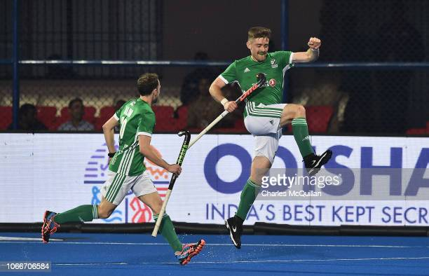 Shane O'Donoghue of Ireland celebrates after scoring during the FIH Men's Hockey World Cup Pool B match between Australia and Ireland at Kalinga...