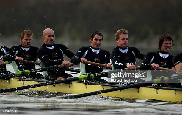 Shane O'Mara John Clay Ryan Monaghan Fred Gill and Deaglan McEachem in action during the Cambridge University Boat Club trial eights race on the...