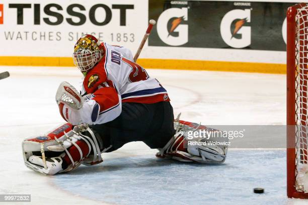 Shane Owen of the Moncton Wildcats lets in a goal during the 2010 Mastercard Memorial Cup Tournament game against the Windsor Spitfires at the...