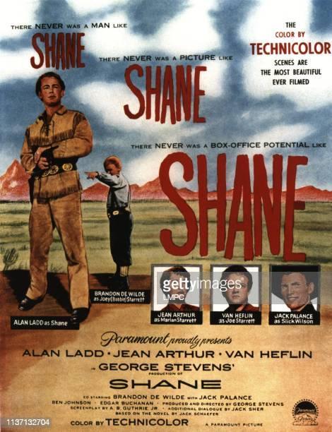 Shane poster Alan Ladd Brandon de Wilde Jean Arthur Van Heflin Jack Palance 1953