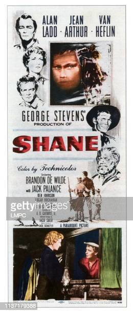 Shane, poster, Alan Ladd, Jean Arthur, Van Heflin, center: Brandon De Wilde, right from top: Jack Palance, Ben Johnson, bottom from left: Jean...