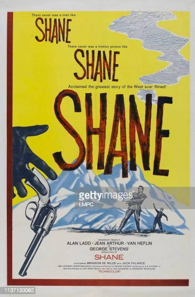 Shane, poster, background left, from left to right: Alan Ladd, Brandon De Wilde, 1953.