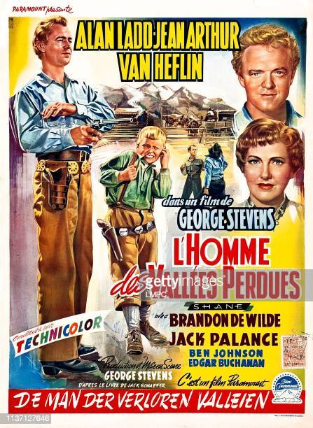 Shane poster lr Alan Ladd Brandon DeWilde right from top Van Heflin Jean Arthur on Belgian poster art 1953