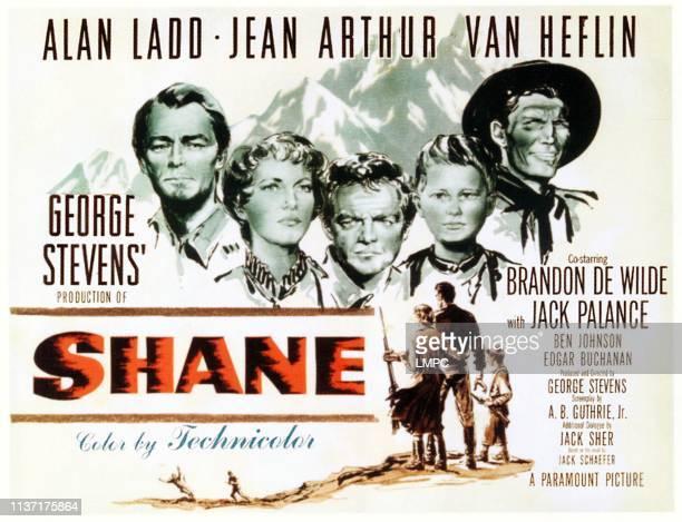 Alan Ladd Jean Arthur Van Heflin Brandon De Wilde Jack Palance on poster art 1953