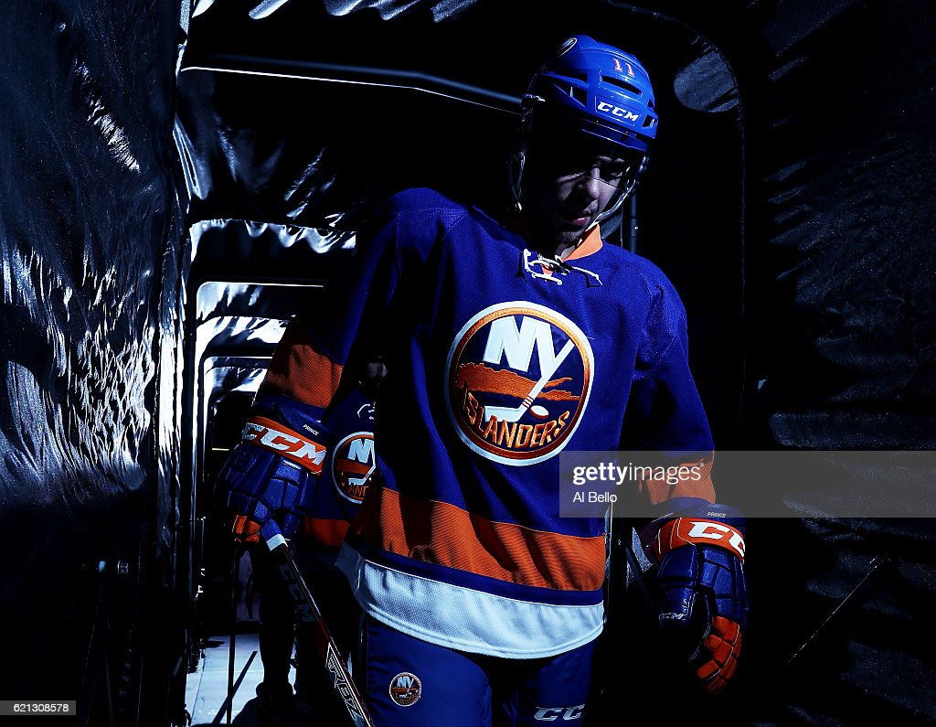 Shane Prince #11 of the New York Islanders heads onto the ice before the game against the Edmonton Oilers at the Barclays Center on November 5, 2016 in New York City.
