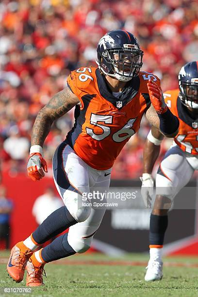 Shane Ray of the Broncos rushes the passer during the NFL game between the Denver Broncos and Tampa Bay Buccaneers on October 02 at Raymond James...
