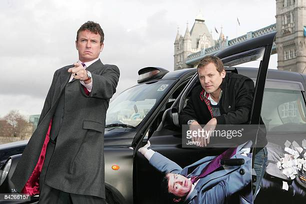 Shane Richie as Archie and Lex Shrapnel as Jamie attend the photocall for 'Minder'at Potters Field on January 13 2009 in London England