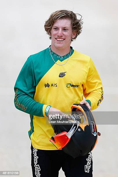 Shane Rosa of Australia smiles after winning the Junior Mens Time Trial Race during day 4 of the UCI BMX World Championships at on July 24 2015 in...
