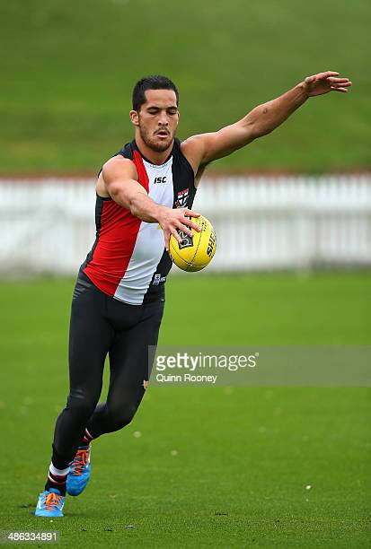 Shane Savage of the Saints kicks during a St Kilda Saints AFL training session at Basin Reserve on April 24 2014 in Wellington New Zealand